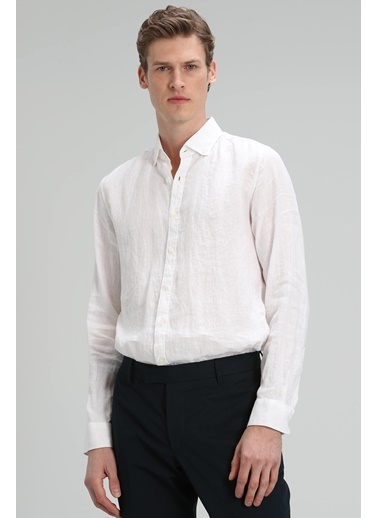 Lufian Pitaya %100 Keten Gömlek Comfort Fit  Beyaz